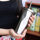 "Термокружка ""мятая"" Хамелион с трубочкой Starbucks, фото 2"