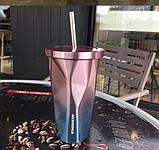 "Термокружка ""мятая"" Хамелион с трубочкой Starbucks, фото 3"