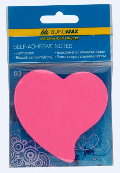 Блок бумаги для заметок Buromax Сердце Neon ассорти, 50 шт