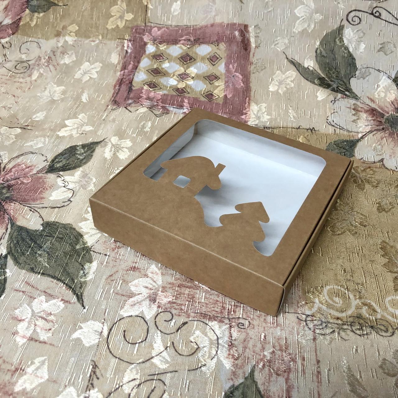 Коробка для пряников / *БЕЗ СНЕГА* / 150х150х30 мм / Крафт / окно-НГ / НГ