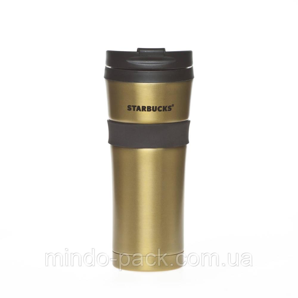 Термокружка Starbucks с резиновой полоской (золото)