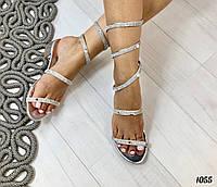 Босоножки Snake Kristal удобный каблук серебро, фото 1