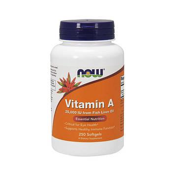 Vitamin A 25,000 IU Fish Liver Oil (250 softgels) NOW