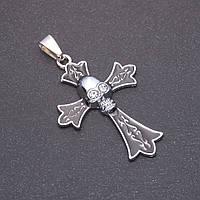 Кулон Хрест Череп сірий метал