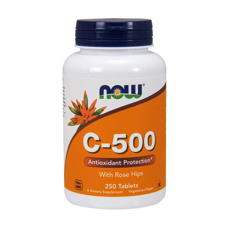 Витамин C-500 с шиповником Now Foods vitamin C-500 with rose hips (250 tabs)