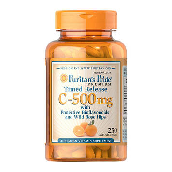 Vitamin C-500 mg with Rose Hips Time Release (100 caplets) Puritan's Pride