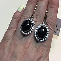 Черный оникс серьги с ониксом. Красивые серьги с камнем черный оникс в серебре Индия, фото 1