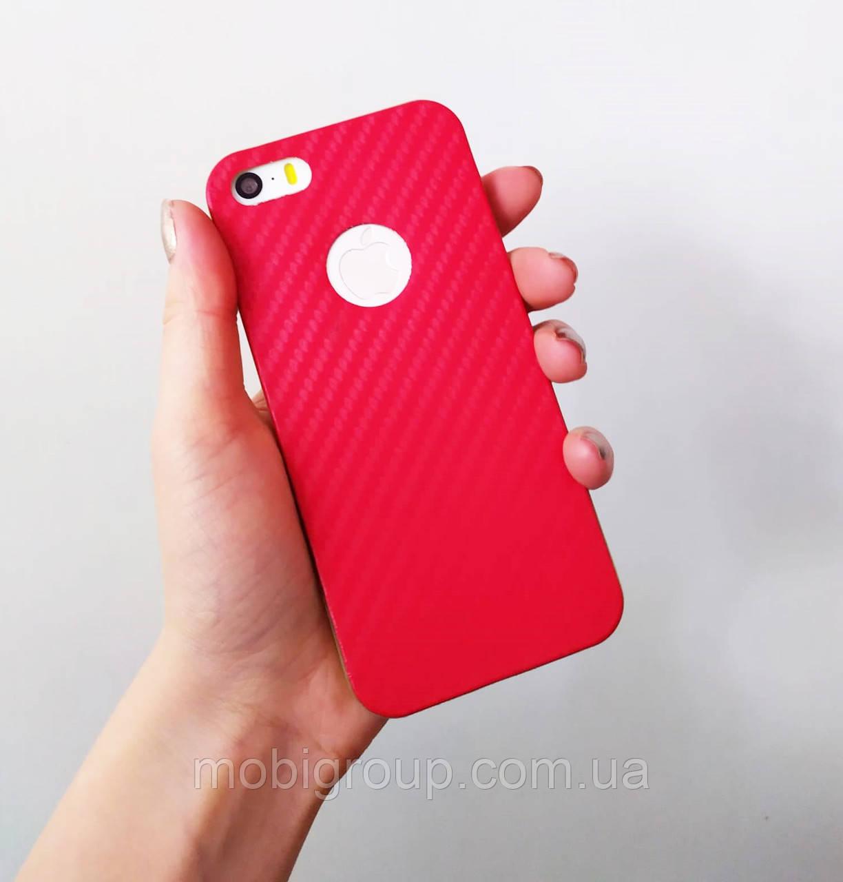 Силиконовый чехол Карбон для iPhone SE/5S/5, красный