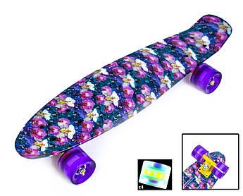 Скейт ПенниБорд с рисунком. Орхидея.  Светящиеся колеса +40 грн
