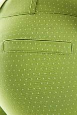 Укороченные зеленые женские брюки 7/8 с манжетами в мелкий горошек, фото 3