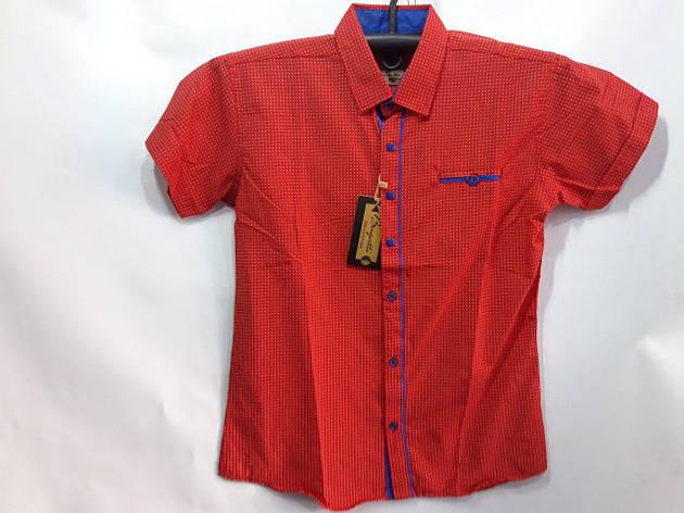Рубашка для мальчика короткий рукав красная 7-12 лет опт, фото 2