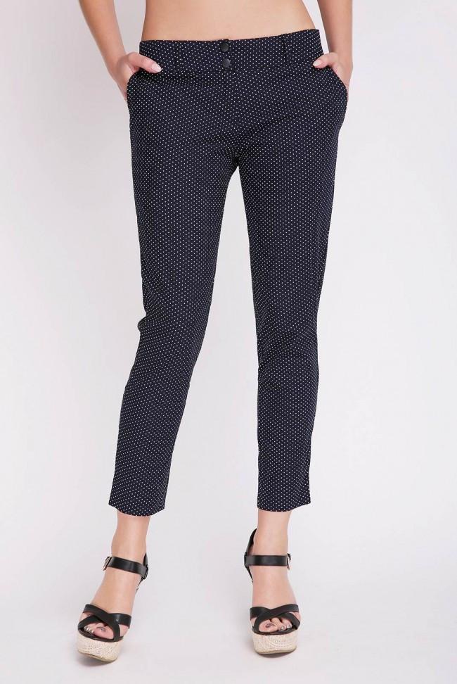 Синие летние женские брюки в мелкий горошек
