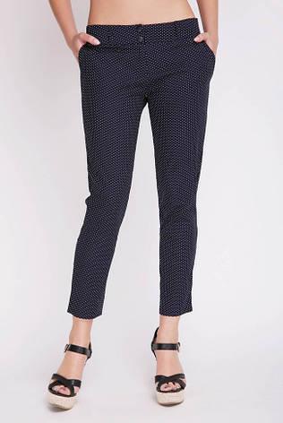 Синие летние женские брюки в мелкий горошек, фото 2