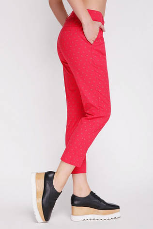 Укороченные красные женские брюки на лето, фото 2