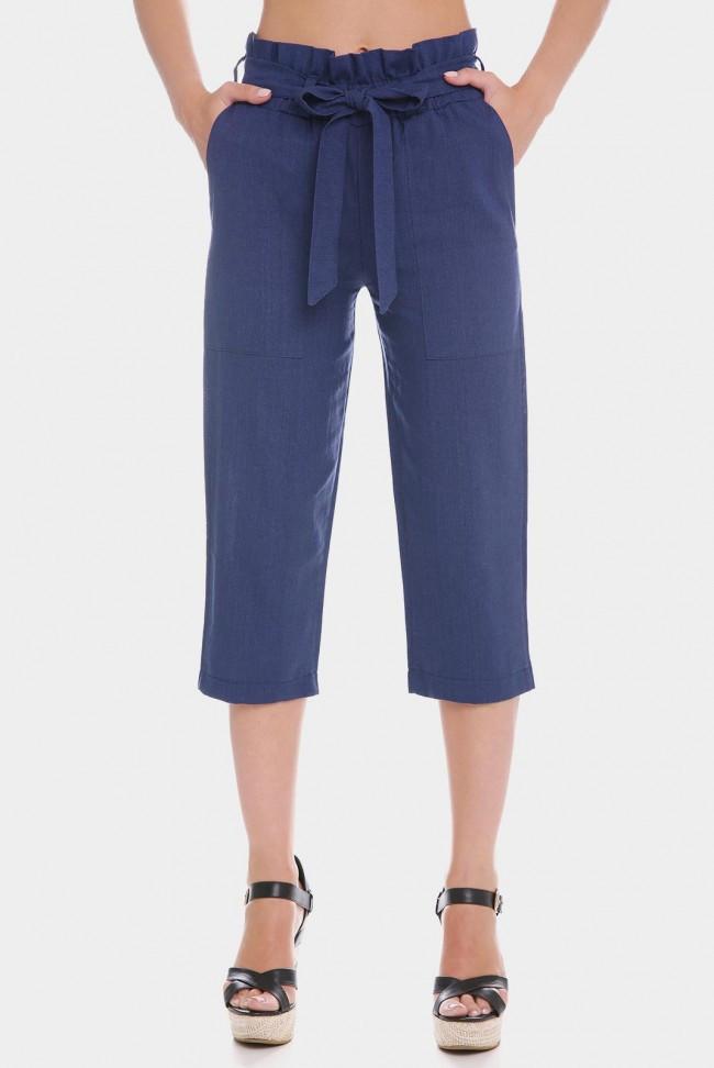Льняные женские капри джинсового цвета