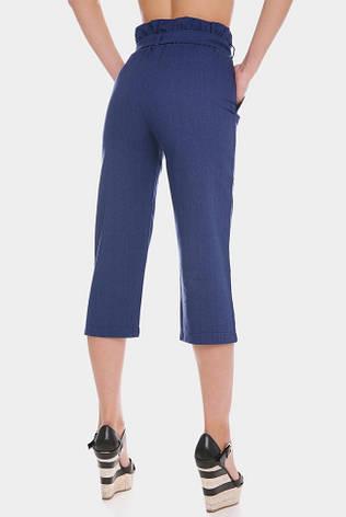 Льняные женские капри джинсового цвета, фото 2