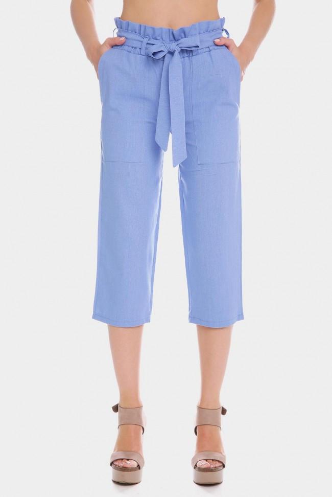 Голубые женские брюки капри из льна с поясом завязкой