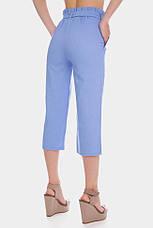Голубые женские брюки капри из льна с поясом завязкой, фото 2