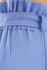 Голубые женские брюки капри из льна с поясом завязкой, фото 3