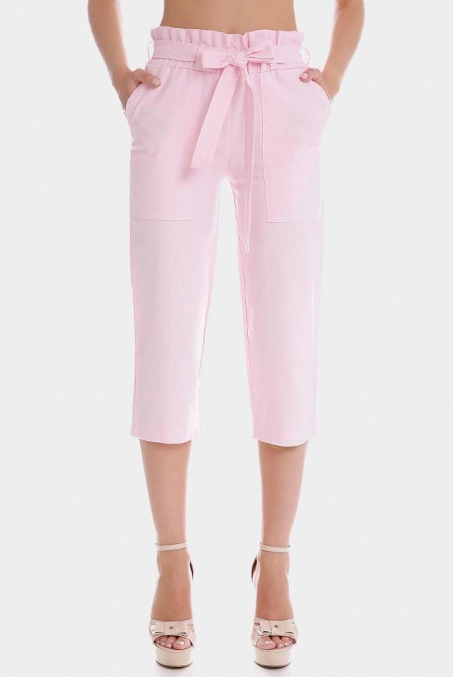 Розовые летние женские капри с поясом