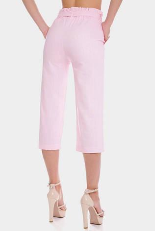 Розовые летние женские капри с поясом, фото 2