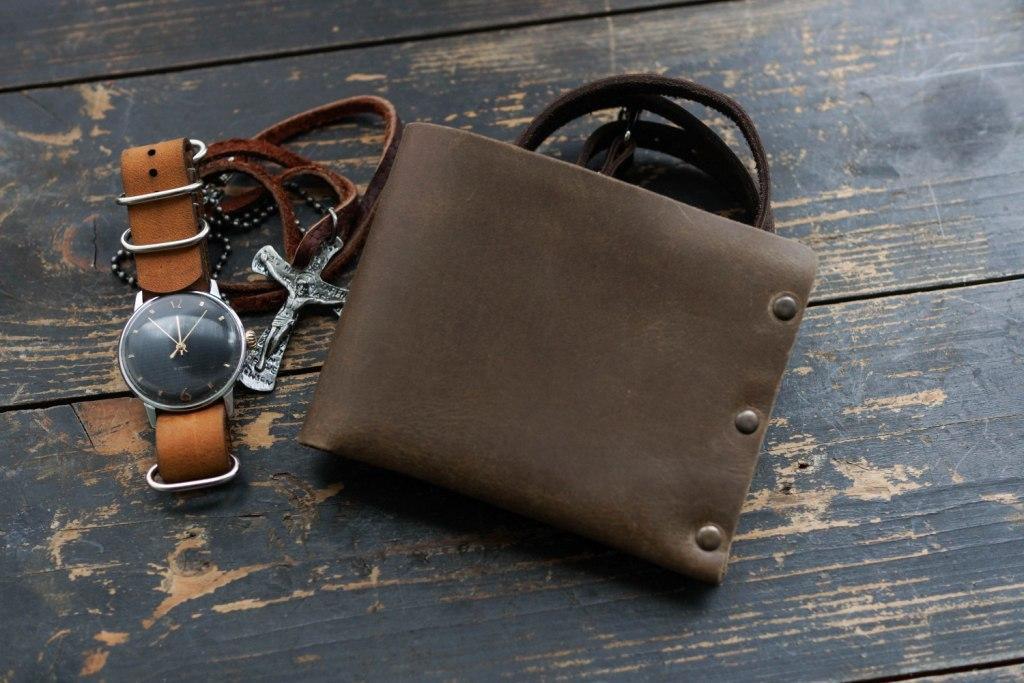 Мужской кожаный бумажник HANDCRAFT IN UA светло-коричневый, фото 1