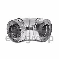 Димохідне відведення 90 градусів 1мм нержавейка/оцинковка діаметр внутрішній 180 зовнішній 280