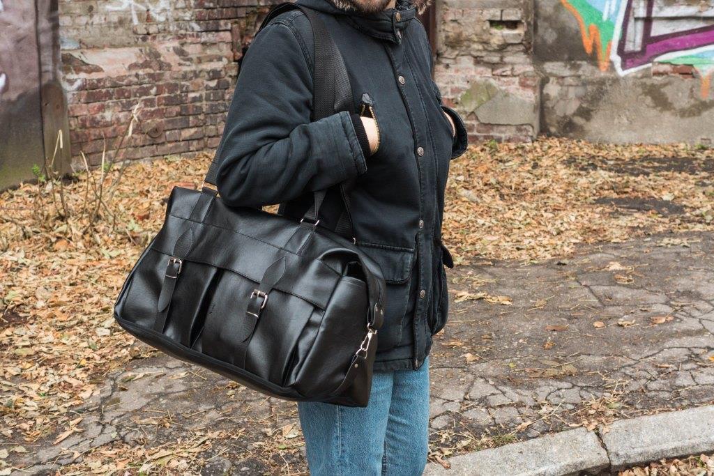 Мужская кожаная дорожная сумка mod.Groover