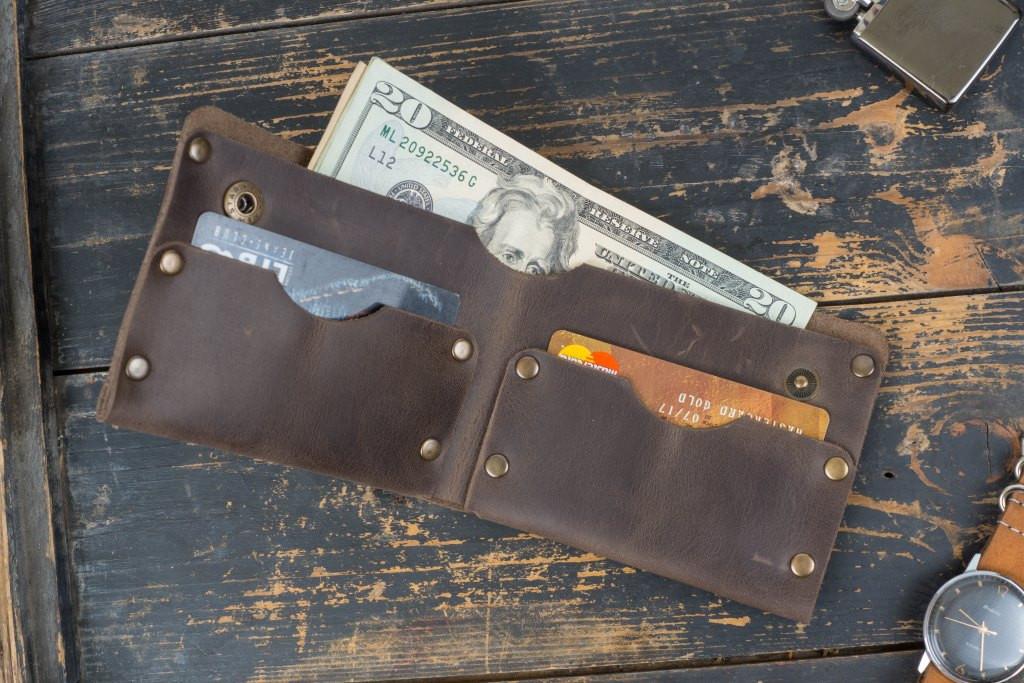 Мужской кожаный кошелек Гранж brown, фото 1