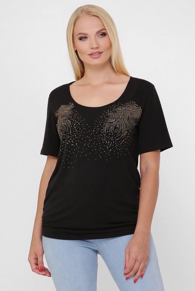 """Черная женская футболка """"Bristol 2"""" большие размеры"""