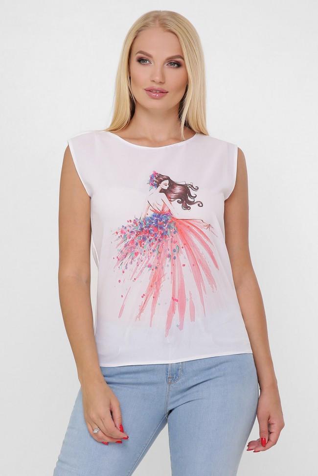 """Женская белая футболка с коротким рукавом """"Classic"""" принт"""