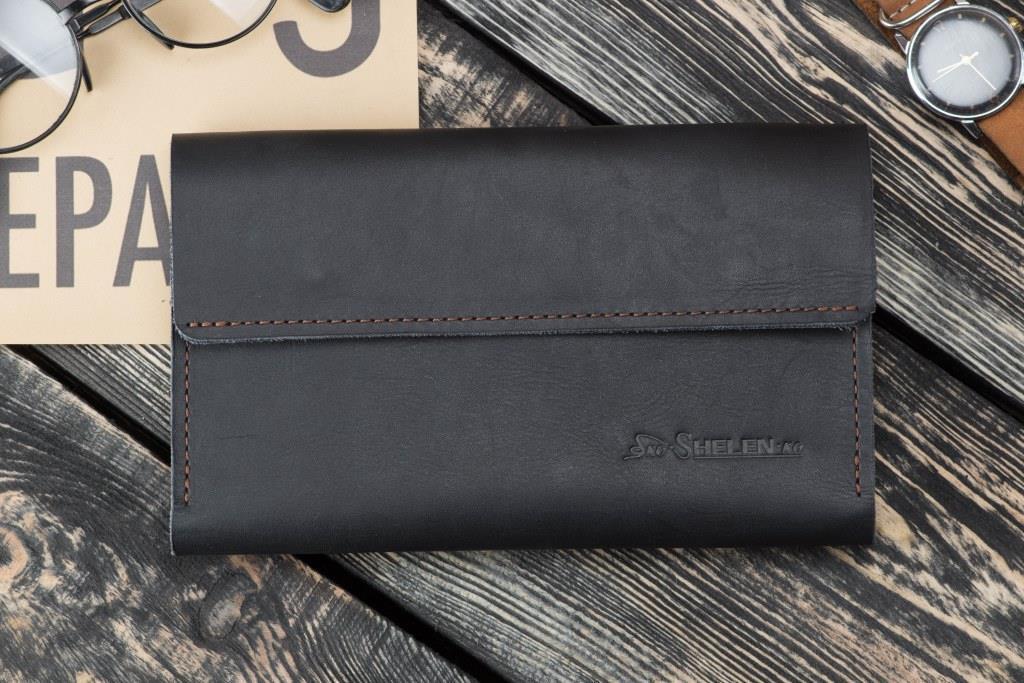 Мужское кожаное портмоне клатч Рейнграф черный, фото 1