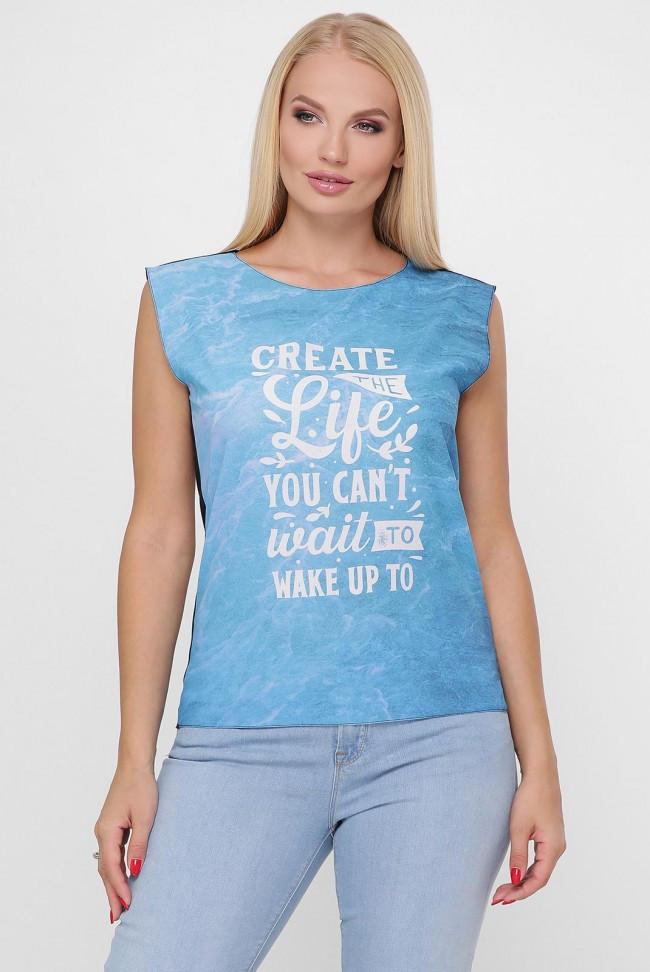 """Стильная женская футболка """"Classic"""" с голубым принтом"""