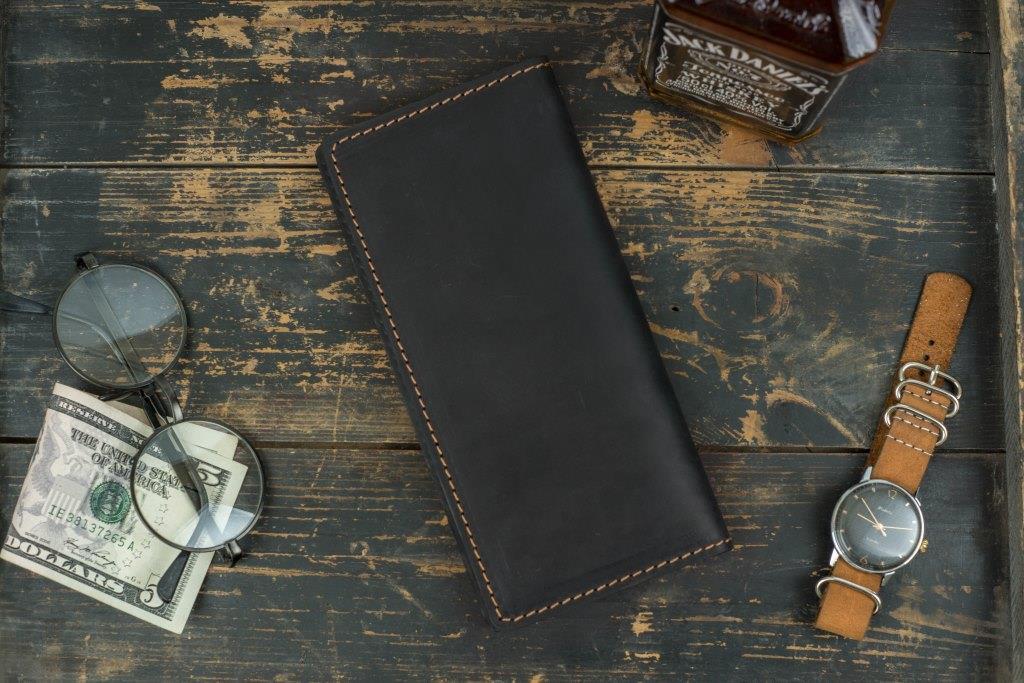 Мужское кожаное портмоне кошелек Финансист черный