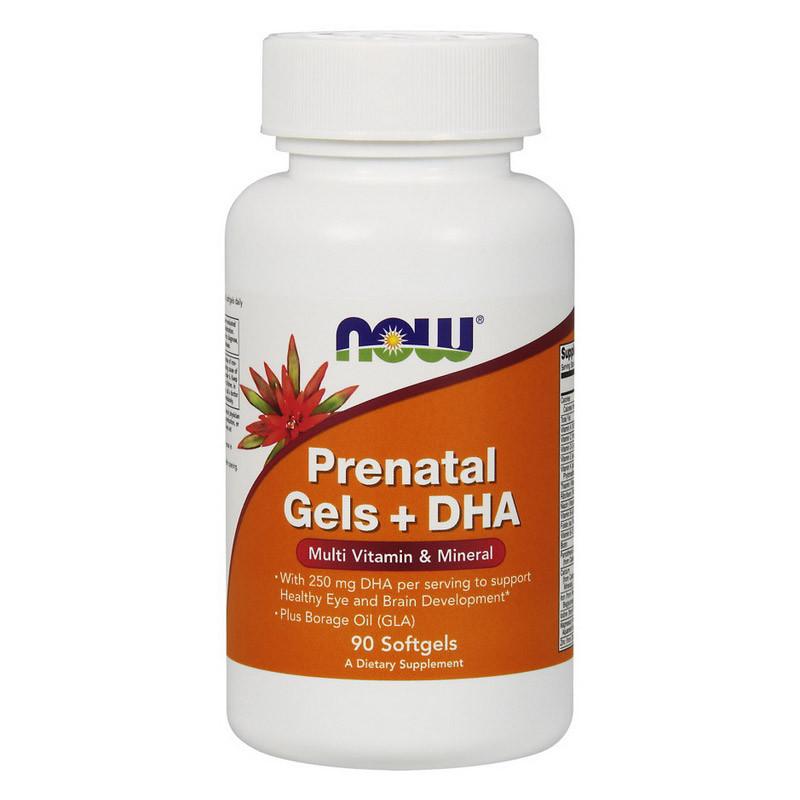 Мультивитамины для беременных женщин пренатальный гель + DHA Now Foods Prenatal Gels + DHA (90 softgel)