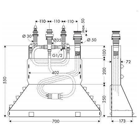 Hansgrohe Внутреняя часть смесителя на 4 отв. на край ванны, фото 2