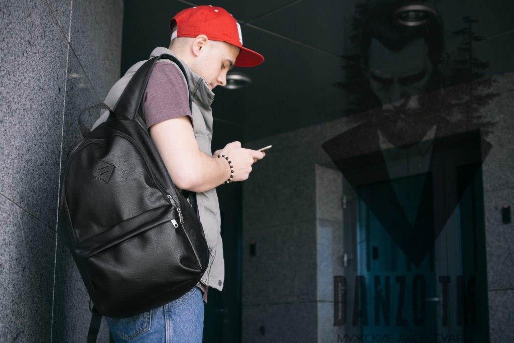 Рюкзак кожаный mod.BORDER мужской черный