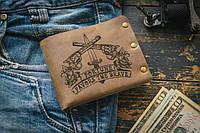 Мужской кожаный кошелек ТатуНаКоже, фортуна, фото 1