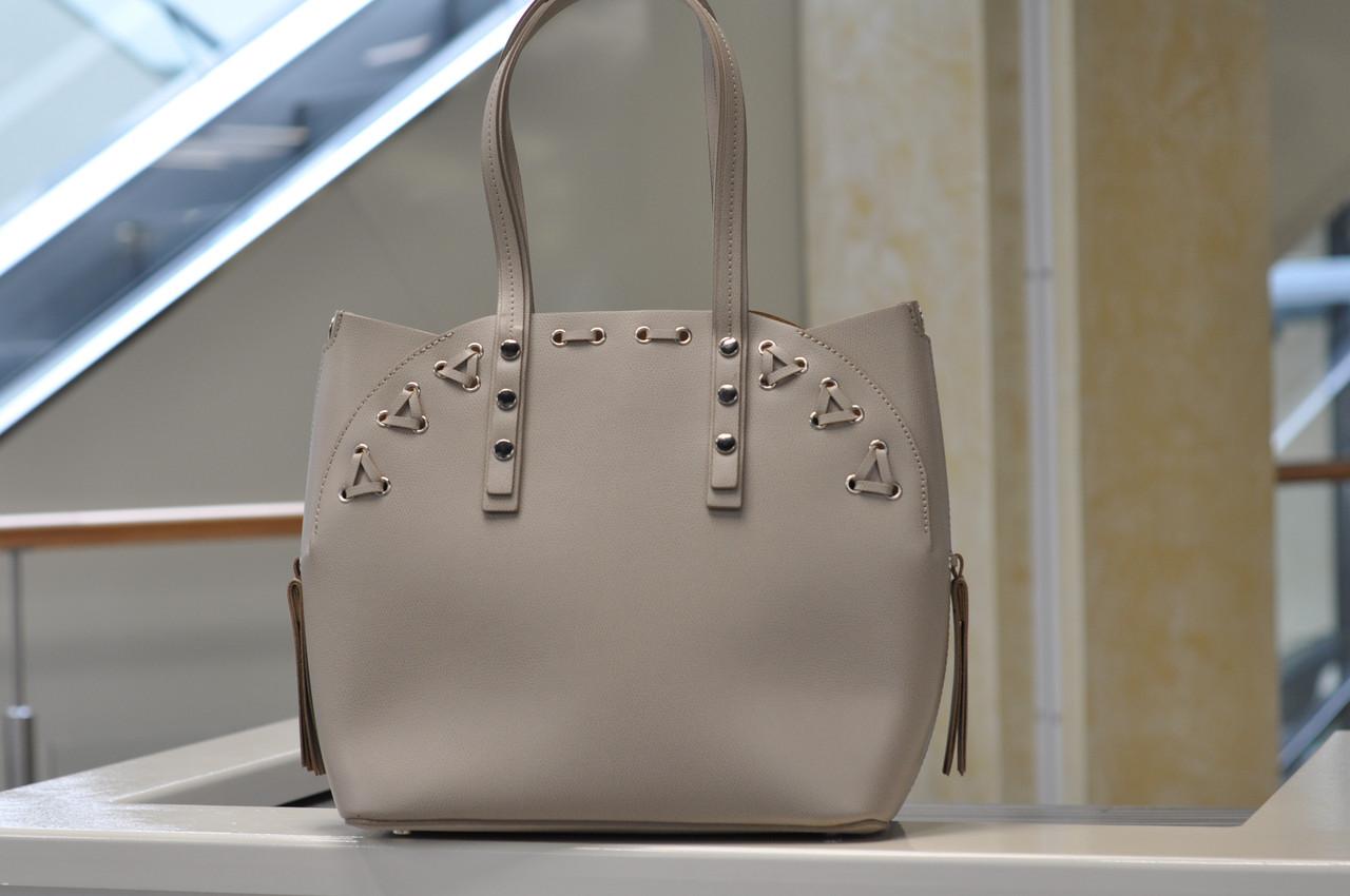 Женская кожаная бежевая сумка 8657
