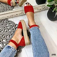Босоножки Desire с ремешком на платформе плетеная подошва красные, фото 1