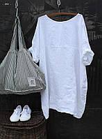 Женское платье-туника лен 40 42 44 46 48 50 52 54 56 58 60 Разные цвета