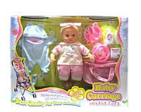 Кукла бебибернT 05015 с коляской, одеждой, аксессуарами, в коробке