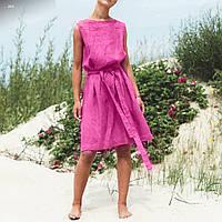 Женское платье с поясом розовое лен 40 42 44 46 48 50 52 54 56 58 60 размер 40