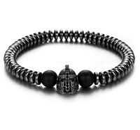 Мужской каменный браслет Spartan чёрный