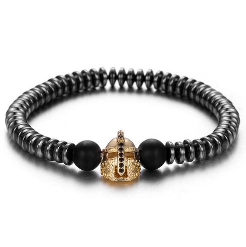 Мужской каменный браслет Spartan золотой