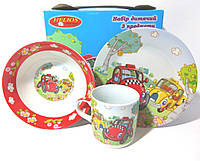 "Детский набор Helios 3 предмета (тарелка 7"", салатник 6"", кружка 320мл) ДР4305 керамика."