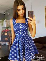 Коттоновое короткое платье в принт с пуговицами спереди и пышной юбкой 24703PL