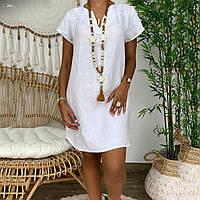 Женское платье с v-вырезом мини лен 40 42 44 46 48 50 52 54 56 58 60 размер