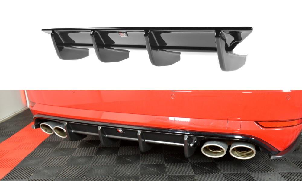 Диффузор заднего бампера юбка сплиттер тюнинг Volkswagen Golf VII R Variant