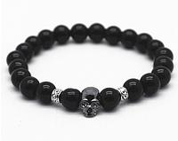 Мужской каменный браслет mod.Skull gloss